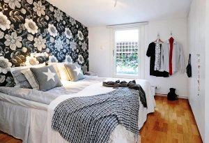 обои для спальни фото в интерьере для маленьких комнат