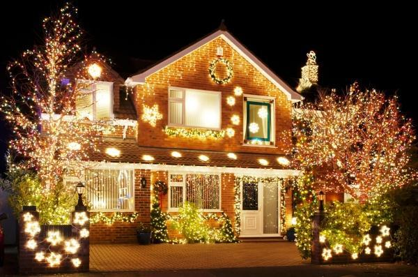 Украшение дома на новый год фото