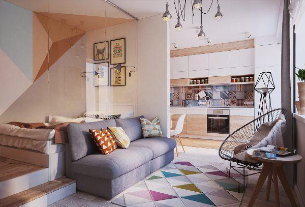дизайн однокомнатной квартиры 40 кв.м фото разделить на две зоны фото 10