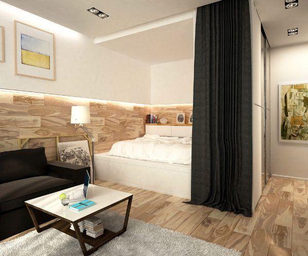 дизайн однокомнатной квартиры 40 кв.м фото разделить на две зоны фото 11