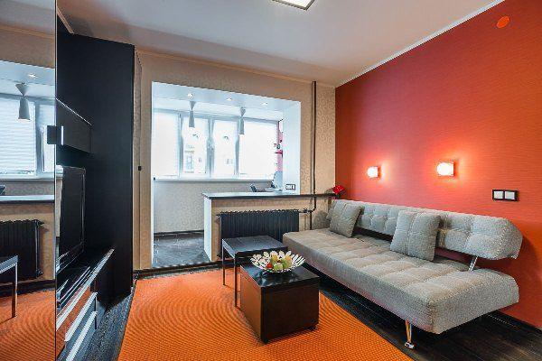 дизайн однокомнатной квартиры 40 кв.м фото разделить на две зоны фото 12