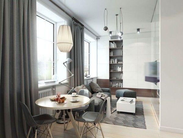 дизайн однокомнатной квартиры 40 кв.м фото разделить на две зоны фото 14