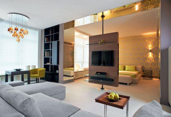 дизайн однокомнатной квартиры 40 кв.м фото разделить на две зоны фото 6