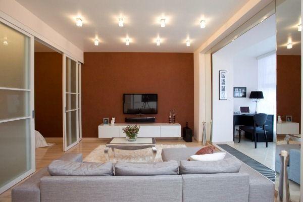 дизайн однокомнатной квартиры 40 кв.м фото разделить на две зоны фото 7