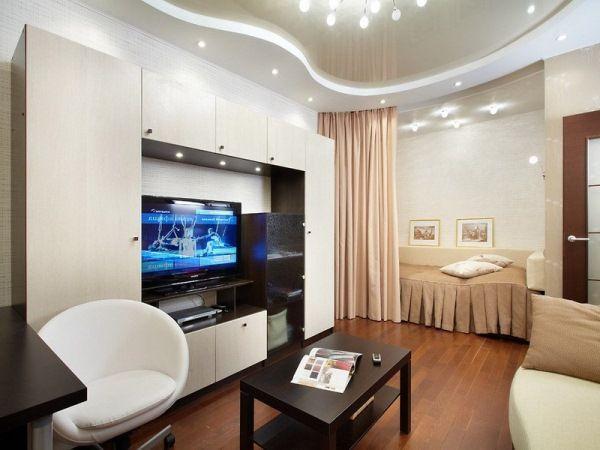 дизайн однокомнатной квартиры 40 кв.м фото разделить на две зоны фото 8