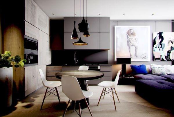 дизайн однокомнатной квартиры 40 кв.м фото разделить на две зоны фото