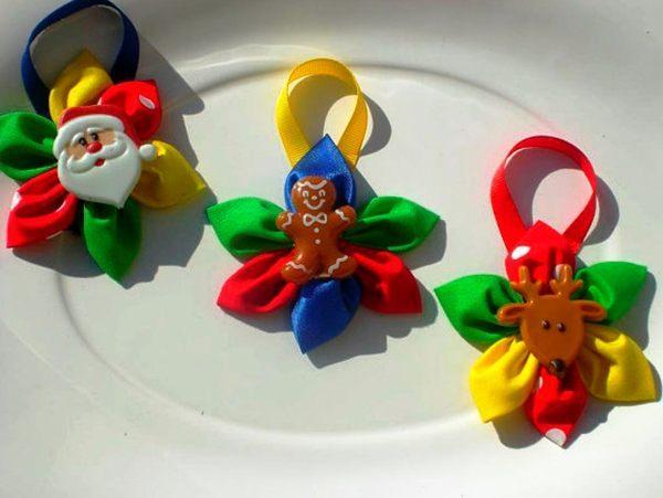 новогодние игрушки канзаши